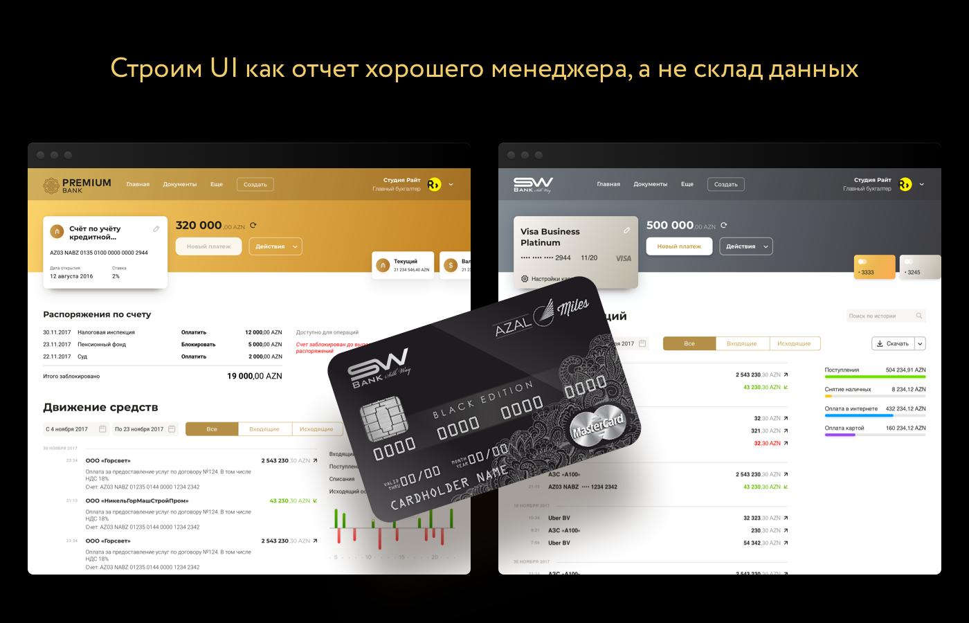 Интерфесй раздела платежи и переводы интернет-банка